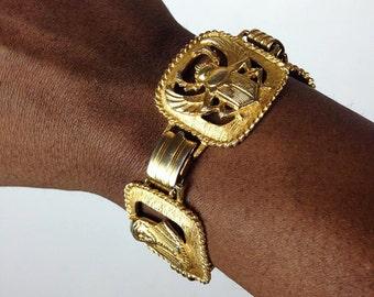 80s Vintage Egyptian Dynasty Gold Bracelet