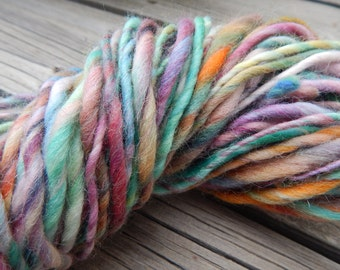 Hand spun yarn - hand painted Cheviot wool top - thick and thin yarn - 6 oz., 120 yards