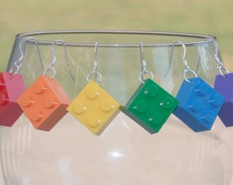 Brick Earrings, Brick Jewelry,  Bricks for Girls, STERLING SILVER hooks, Cool and Unique Earrings, Hypoallergenic, Teacher Gift