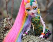 Custom Rainbow Unicorn Monster Doll - OOAK High School Ghoul