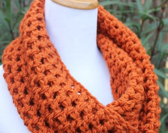 Orange Knit Scarf - Pumpkin Infinity Scarf - Orange Scarf - Crochet Infinity Scarf - Pumpkin Circle Scarf - Orange Infinity Scarf -