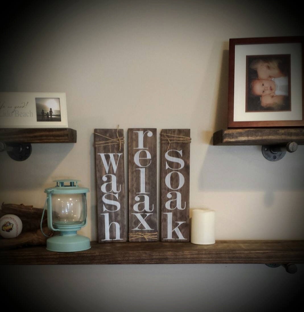 Wash relax soak set of 3 rustic bathroom decor pallet for Bathroom decor etsy