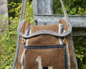 Lama wool messenger bag, upcycled recycled, vintage messenger bag, wool bag, crossbody bag, lama messenger bag, free people fashion bag