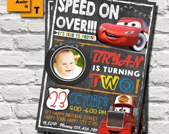 cars invitation, disney cars Invitation, lightning mcqueen birthday invitation, Mcqueen birthday Invitation, radiator spring, cars mack T-55