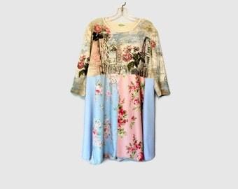 Romantic Boho Dress Upcycled Women's Clothing Gypsy Cowgirl Summer Tunic