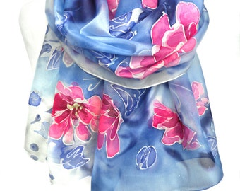 Hand Paint Silk Scarf. Blue Shawl. Birthday Gift for Her. Silk Art. Unique Handmade Bridesmaids Gift. Echarpe Foulard. 18x71in. Ready2Ship