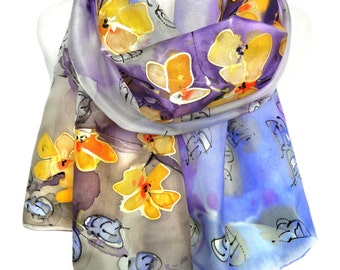 Hand Painted Silk Scarf. Floral Scarf. Silk Shawl. Gift for Her. Purple Scarf. Silk Painting. Unique Handmade Shawl. 18x71in Ready2Ship