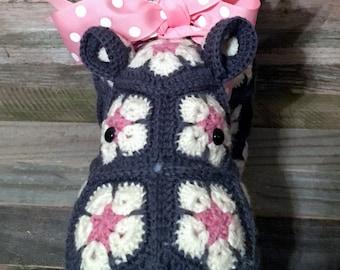 Hippopotamus - Hippo - Plush - Stuffed - Animal - African Flower - Harriet Happypotamus