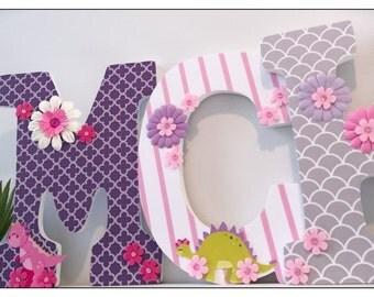 Dinosaur Nursery Baby Girl. Girls Nursery.  Dinosaurs. Girls Room. Wood Letters. Nursery Decor. Pink. Purple. Grey. Wall Decor.