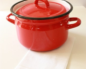 Vintage Red Enamel Lidded Pot Made in Poland