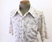 1970s Vintage Men's Peacock Feather Shirt Vintage Short Sleeve Disco Era Polyester Shirt by JCPenney - Size XL