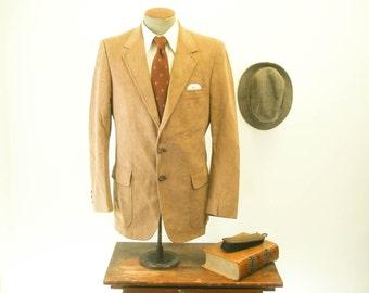 1970s Ultrasuede Suit Jacket / Blazer Mens Vintage Brown Leather Look Sport Coat by Kensington - Size 40 (MEDIUM)