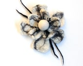 Felted flower brooch, felted wool jewelry, gifts for her, black and white hair clip, flower felt pin, corsage, wedding flower, bridal brooch