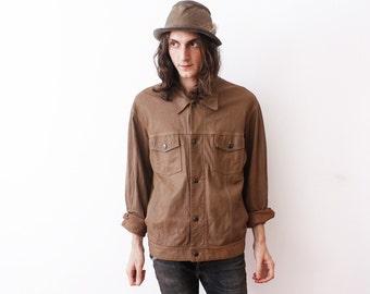 SALE__Vintage 1980s Brown Leather Jacket Beige