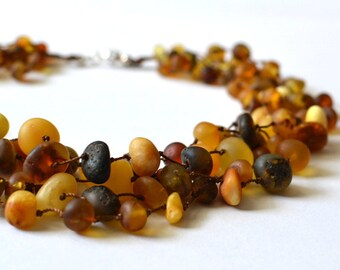 Matt Amber Necklace Colorful Amber Linen Necklace Woodland Inspired Natural Gift Boho Necklace