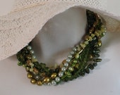 Multi Strand Torsade Statement Necklace, Olive Green New Jade, Evergreen Freshwater Pearls, .925 Sterling Silver