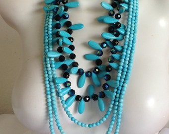 Long Multi Strand Statement Necklace, Turquoise Necklace, AB Black Czech Glass, White Pearls, .925 Sterling Silver