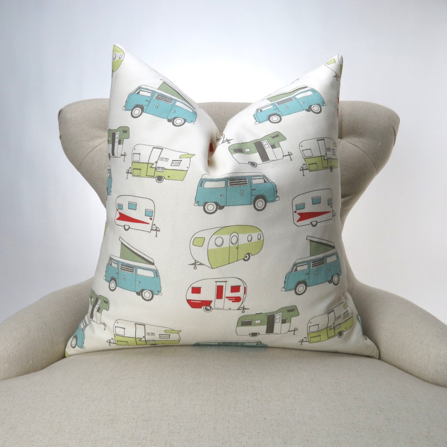 Vintage Camper Pillow Cover MANY SIZES Throw Pillow Euro