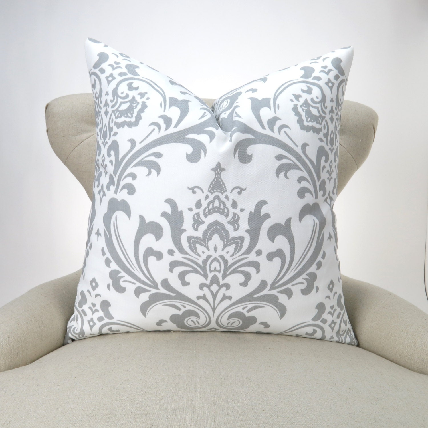 Throw Pillow Case Size : Throw Pillow Cover Gray Damsk MANY SIZES White gray