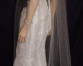 Soft Wedding Veil Bidal Veil Floor Length Veil Sheer Silver Black Red  Purple Pink Beige Ivory