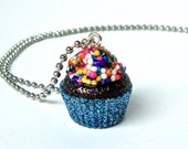 Cupcake necklace, chocolate cupcake pendant, cupcake jewelry, cupcake charm, sprinkles jewelry, bakers gift idea, glitter resin pendant