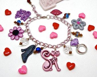 Pink kitty charm bracelet, as seen in Seventeen Magazine, cat charm bracelet, novelty jewelry, kawaii, cute, harajuku girl