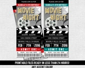 MOVIE TICKET INVITATIONS Birthday Party - Any Accent Color/Age - (print your own) Personalized Printable Files - Hollywood Cinema Night