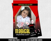 MAGIC VALENTINE CARD (printable files) Personalized with Photo - Print Your Own 4x6 Valentine's Day Cards - Magical, Magician, Magic Show