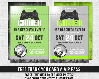 VIDEO GAME Invitations Gamer Birthday Party + Bonus Thank You Card/VIP Pass - (print your own) Personalized Printable Files