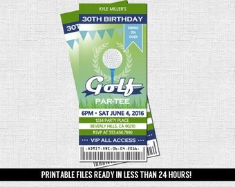 GOLF TICKET INVITATIONS - Birthday Party Par-Tee - Any Age - Any Event (print your own) Printable Files - Graduation, Retirement, Mini Putt