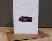 Cabin in the rain Greetings Card