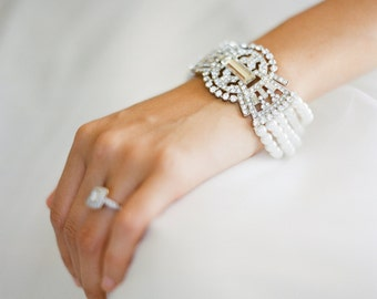 Art Deco Bridal Pearl Bracelet, Bridal Statement Bracelet, Pearl Wedding Bracelet,Gatsby Wedding,Swarovski Crystal and Pearl Bracelet- DARLA