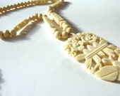 Art Deco Carved Bone Butterfly Necklace, Vintage Carved Pendant Necklace, Summer, Beach, Asian, Art Deco Jewellery