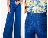 the coolest VINTAGE 60's/70's flares flared jeans bell bottoms high rise indigo wash