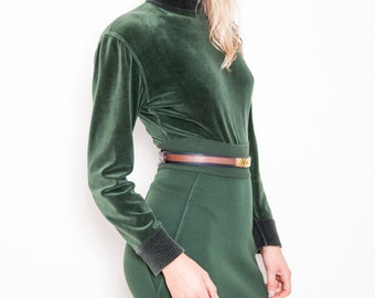 CLEARANCE SALE was 700 now 450 epic vintage 80s Azzedine ALAIA forest green knit stretch velvet bodysuit skirt body con set
