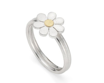 Forget Me Not ring in solid silver and 18ct gold.