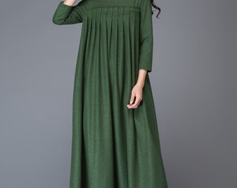 Wool dress, maxi dress, womens dress, pleated dress, dark green dress, winter dress, dress, long dress, 3/4 sleeves dress C1013