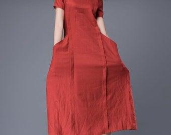 Linen Dress,orange red dress, A line dress,dress with pockets, linen dresses for women C882