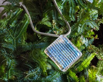 Ice Storm Dichroic Glass Pendant Necklace