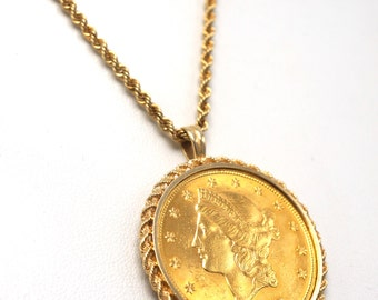 Vintage 1907 Liberty Gold Coin Jewelry Pendant Set In 14k Rope Bezel With 14k Gold Rope Chain