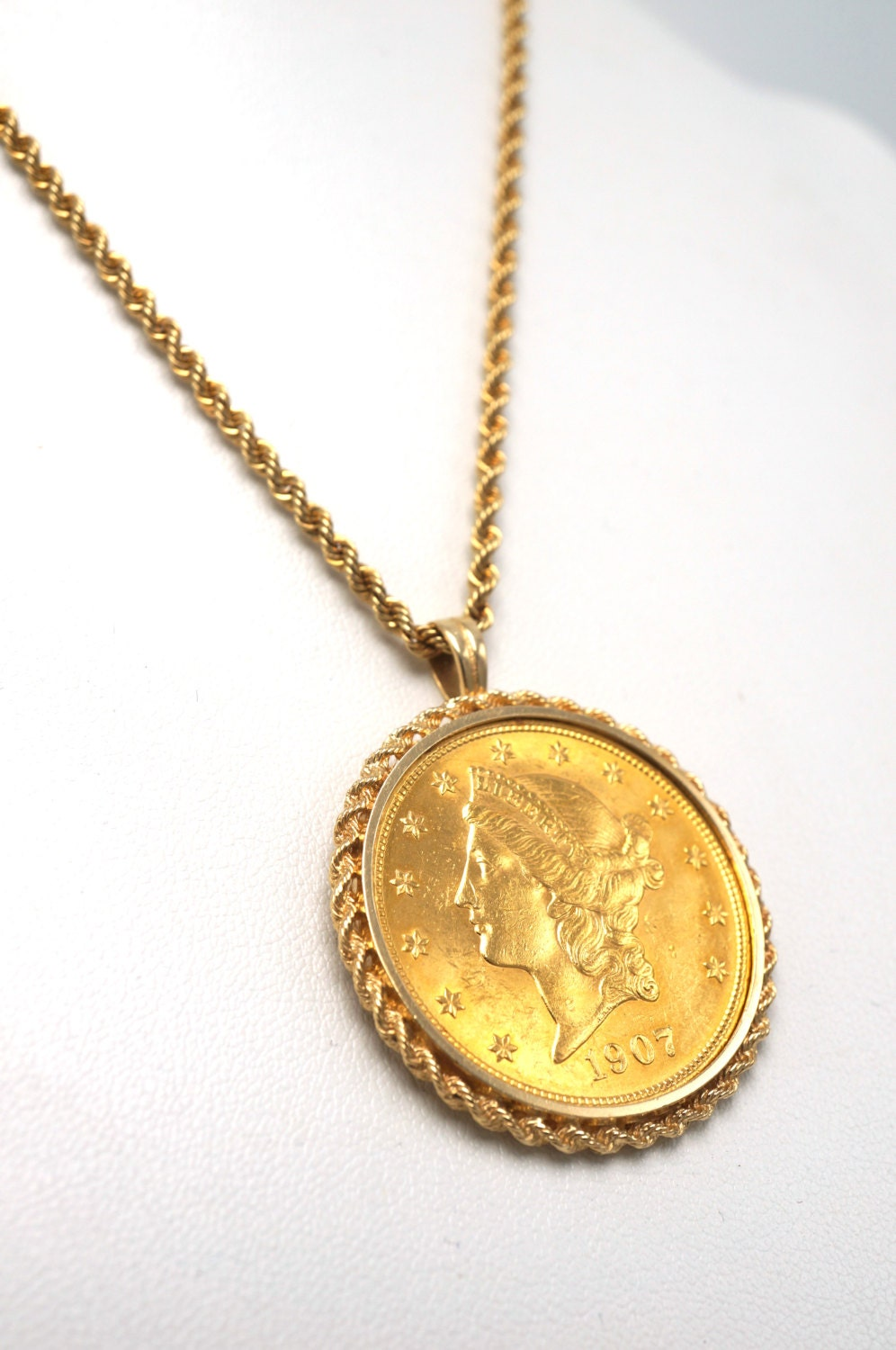 Vintage 1907 liberty gold coin jewelry pendant set in 14k rope vintage 1907 liberty gold coin jewelry pendant set in 14k rope bezel with 14k gold rope chain aloadofball Image collections