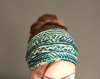 yoga headband wide ethnic headwrap head band tribal african hair band fitness crossfit bandana jersey jogging headband green cotton