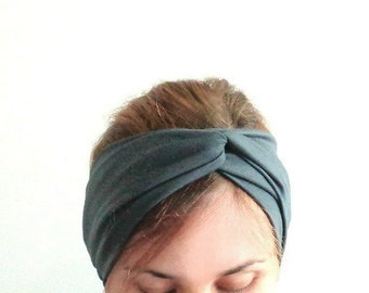 Grey yoga headband Jersey turban turband stretch headwrap everyday hairband winter head warmer ear warmer stirnband fitness headband