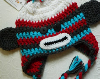 Sock Monkey Hat {Red, Teal & Grey 6-10 years}