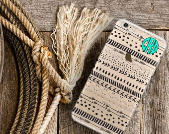 Personalized clear Iphone 5s case, Aztec Iphone 6 plus case clear, Girl's tribal tech accessory, Customized gift for best friend girl (1589)