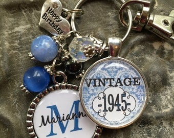 70th birthday gift keychain vintage personalized name mother sister aunt daughter milestone birthday tangerine vintage 1973 1963 1983