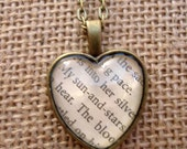 My Sun and Stars Love Heart Book Page Necklace - Game of Thrones
