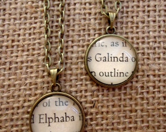 Elphaba and Galinda Friendship Necklaces - Book Page Necklace - Wicked