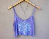 Light Purple Crop Top, Floral Mandala Batik, Lavender Tank Top, Loose Fitting, Hippie Clothing, Boho, Bohemian, Gift for Teen Girl