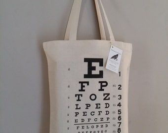 Eye Chart Optometry Tote The Original Eye Chart Tote Bag Gift Available in wooden hoop wall art also